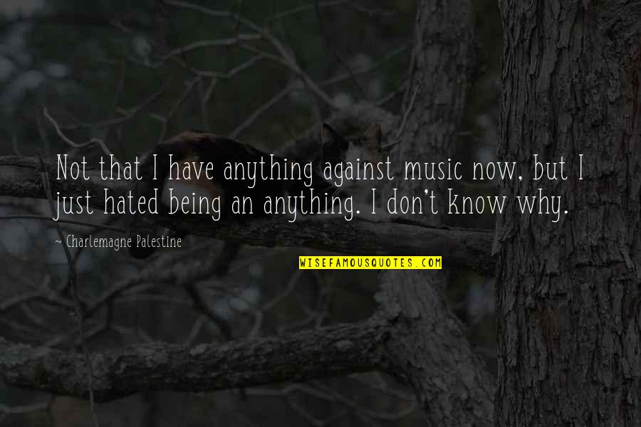 Palestine Quotes By Charlemagne Palestine: Not that I have anything against music now,