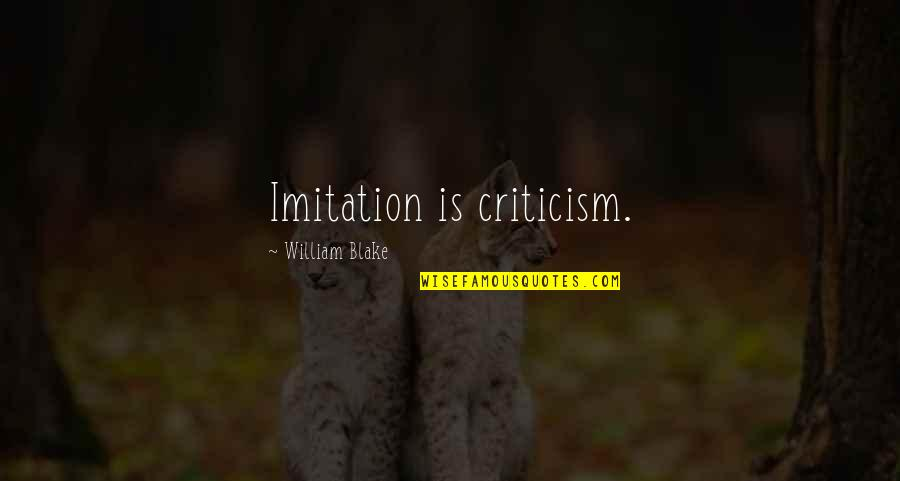 Palm Day Quotes By William Blake: Imitation is criticism.