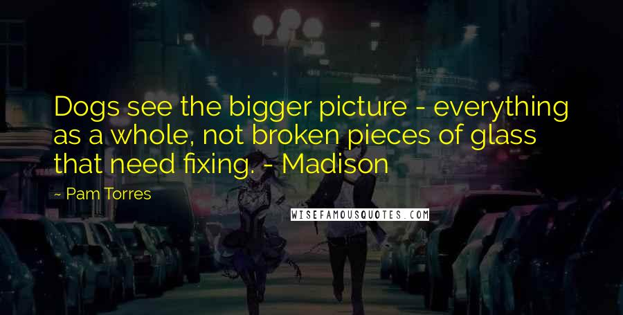 Pam Torres quotes: Dogs see the bigger picture - everything as a whole, not broken pieces of glass that need fixing. - Madison