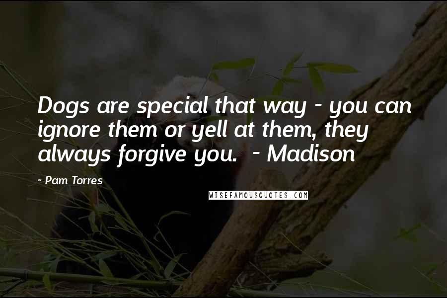 Pam Torres quotes: Dogs are special that way - you can ignore them or yell at them, they always forgive you. - Madison