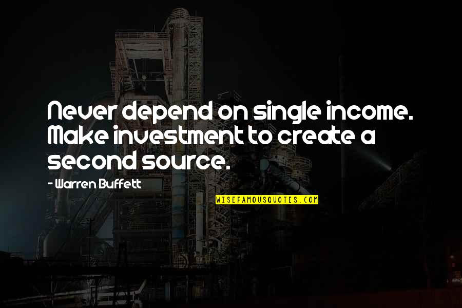 Pambabalewala Quotes By Warren Buffett: Never depend on single income. Make investment to