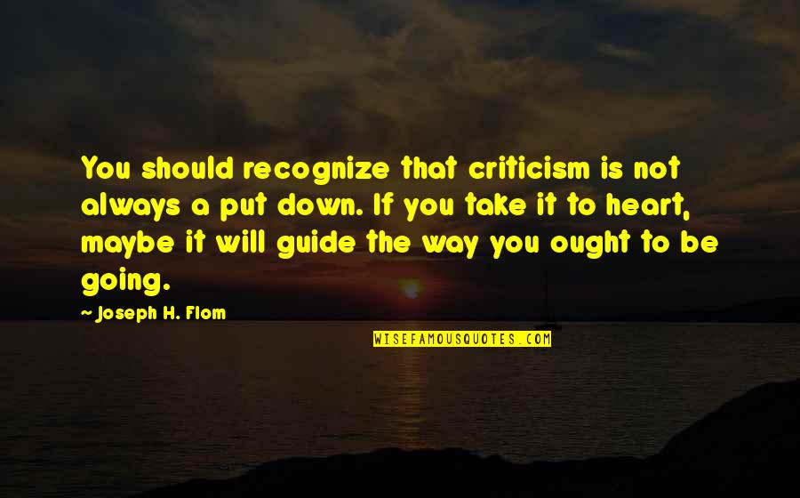 Pamela Winchell Quotes By Joseph H. Flom: You should recognize that criticism is not always