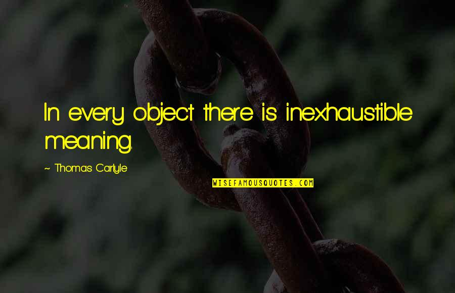 Pamphlets Quotes By Thomas Carlyle: In every object there is inexhaustible meaning.