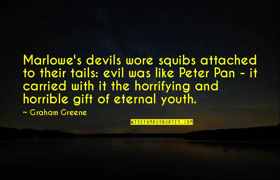 Pan Quotes By Graham Greene: Marlowe's devils wore squibs attached to their tails: