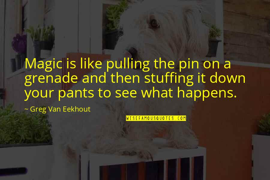 Pants Down Quotes By Greg Van Eekhout: Magic is like pulling the pin on a