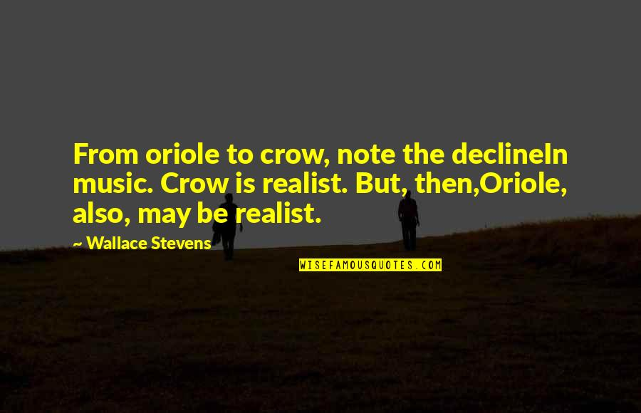 Pantsuit Quotes By Wallace Stevens: From oriole to crow, note the declineIn music.