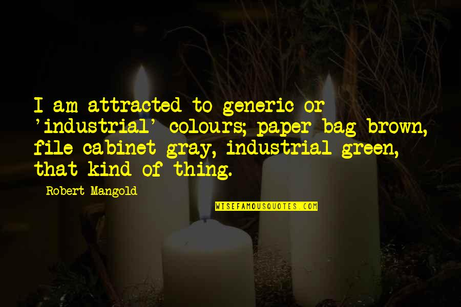 Paper Bag Quotes By Robert Mangold: I am attracted to generic or 'industrial' colours;