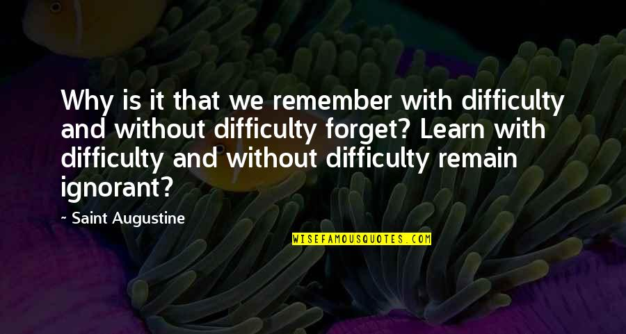 Paranamal Quotes By Saint Augustine: Why is it that we remember with difficulty