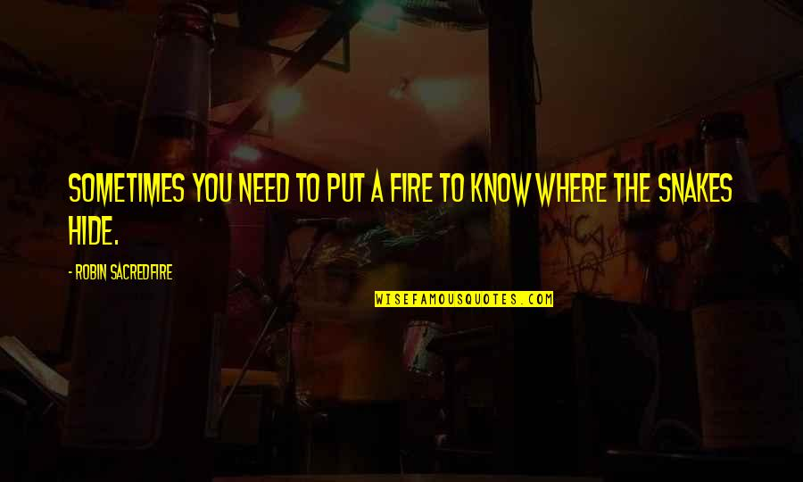 Parents 1989 Quotes By Robin Sacredfire: Sometimes you need to put a fire to