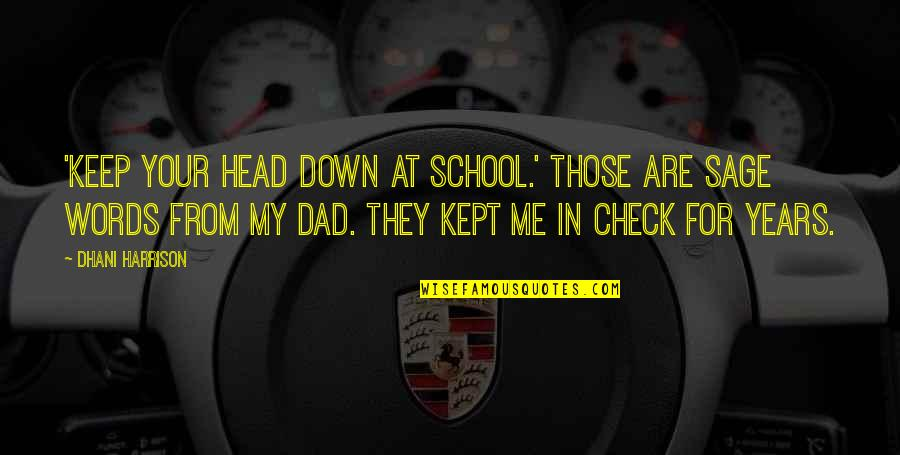 Parents Disappointing You Quotes By Dhani Harrison: 'Keep your head down at school.' Those are