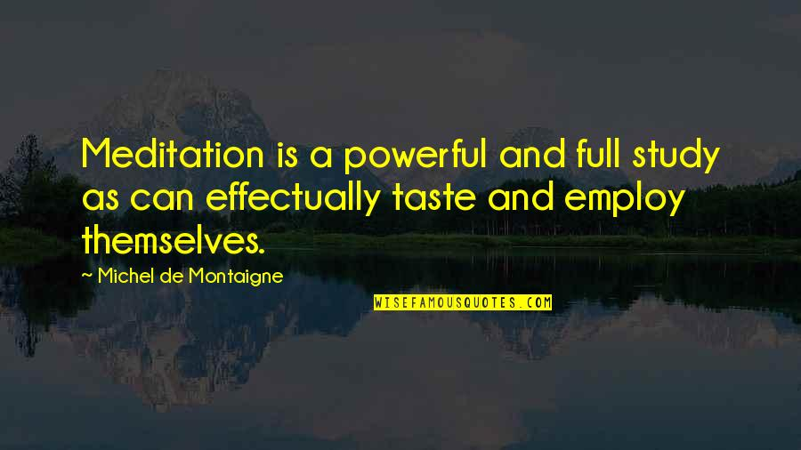 Paris France Travel Quotes By Michel De Montaigne: Meditation is a powerful and full study as