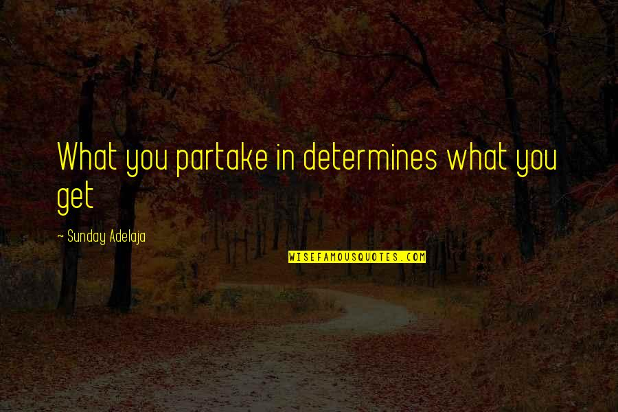 Partake Quotes By Sunday Adelaja: What you partake in determines what you get