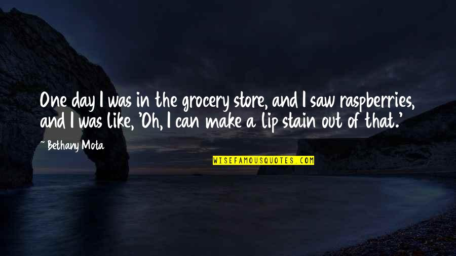 Partakes Quotes By Bethany Mota: One day I was in the grocery store,