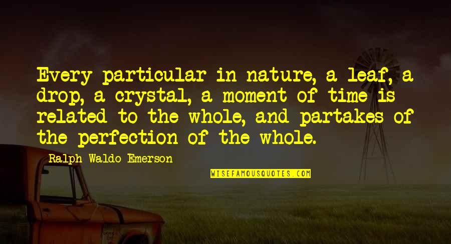 Partakes Quotes By Ralph Waldo Emerson: Every particular in nature, a leaf, a drop,