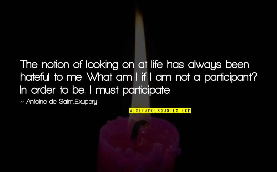 Participant Quotes By Antoine De Saint-Exupery: The notion of looking on at life has