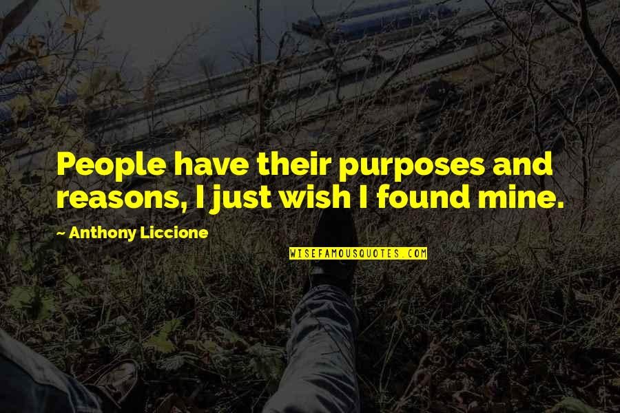 Parting With Friends Quotes By Anthony Liccione: People have their purposes and reasons, I just