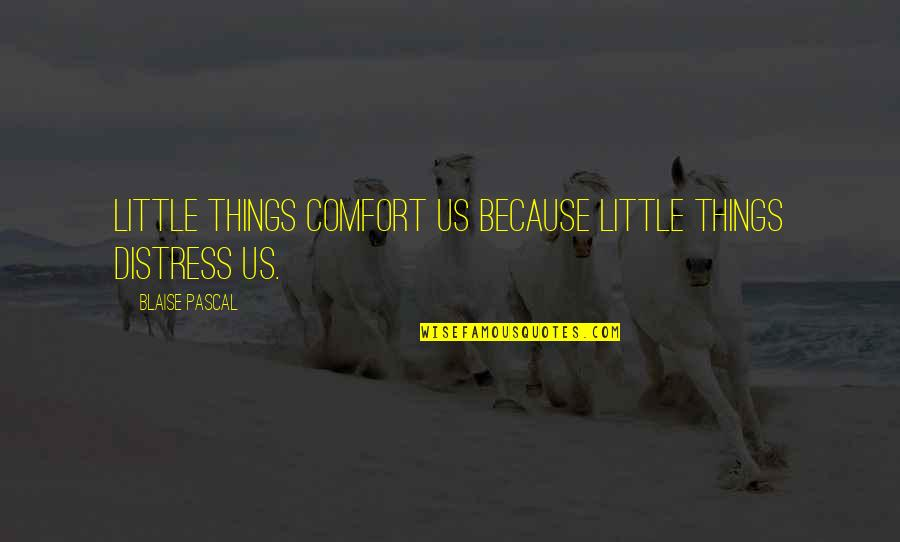 Pascal's Quotes By Blaise Pascal: Little things comfort us because little things distress