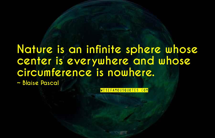 Pascal's Quotes By Blaise Pascal: Nature is an infinite sphere whose center is