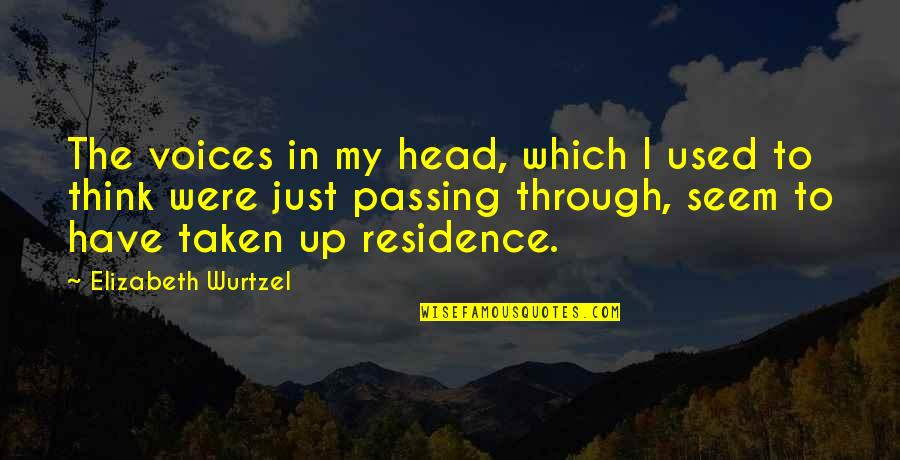 Passing It On Quotes By Elizabeth Wurtzel: The voices in my head, which I used