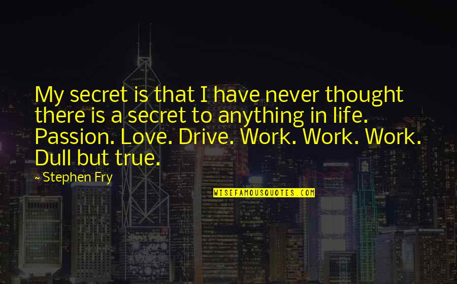 Passion And Drive Quotes By Stephen Fry: My secret is that I have never thought