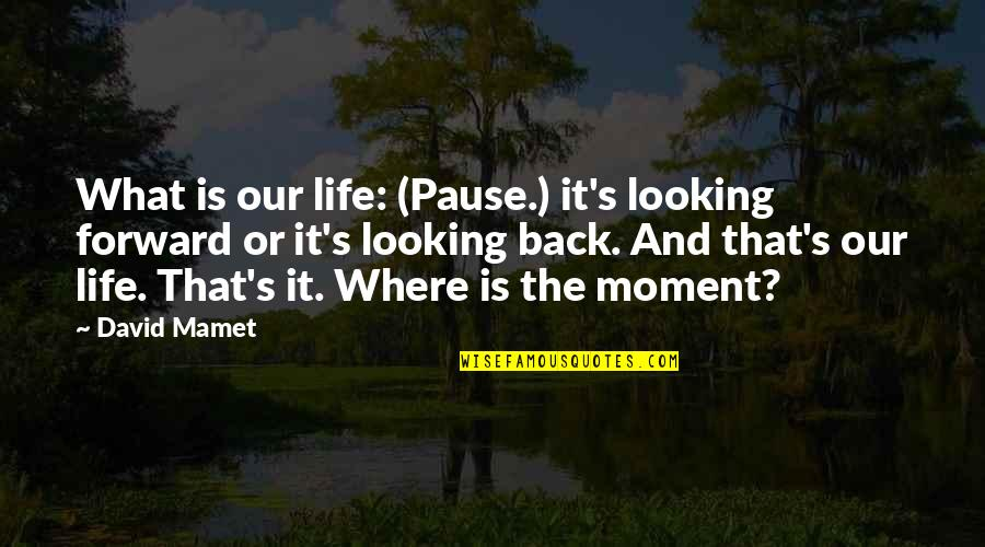 Past & Future Life Quotes By David Mamet: What is our life: (Pause.) it's looking forward