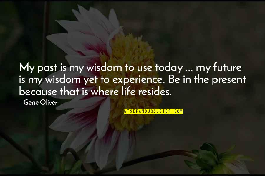 Past & Future Life Quotes By Gene Oliver: My past is my wisdom to use today