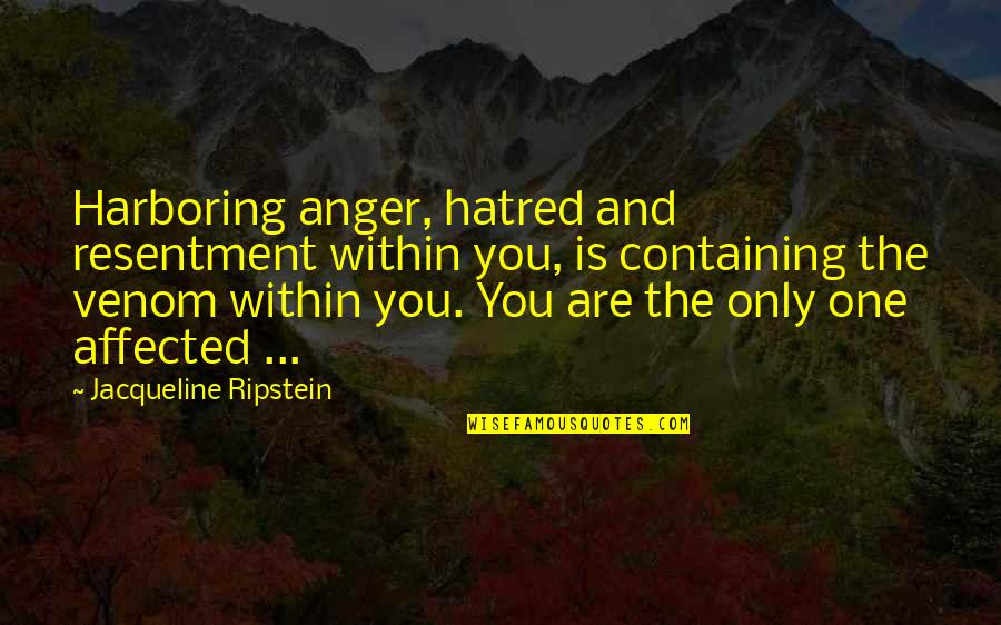 Past Self Quotes By Jacqueline Ripstein: Harboring anger, hatred and resentment within you, is