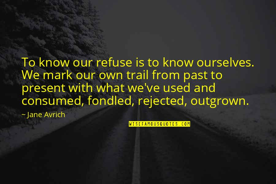 Past Self Quotes By Jane Avrich: To know our refuse is to know ourselves.