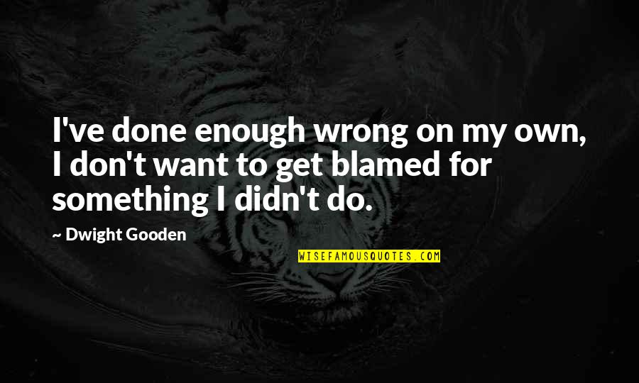 Pastor Wife Anniversary Quotes By Dwight Gooden: I've done enough wrong on my own, I
