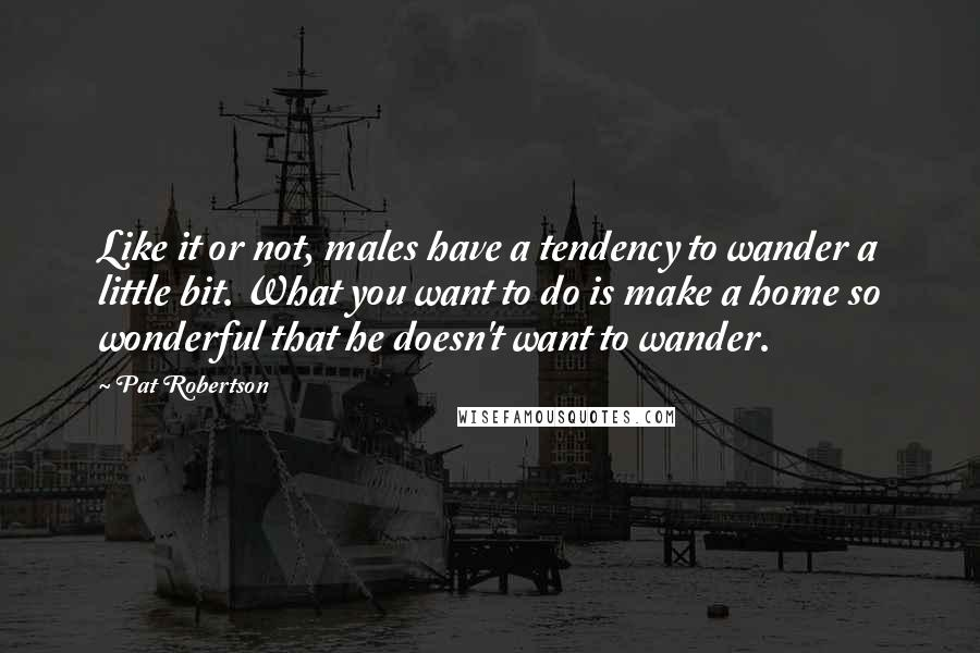 Pat Robertson quotes: Like it or not, males have a tendency to wander a little bit. What you want to do is make a home so wonderful that he doesn't want to wander.