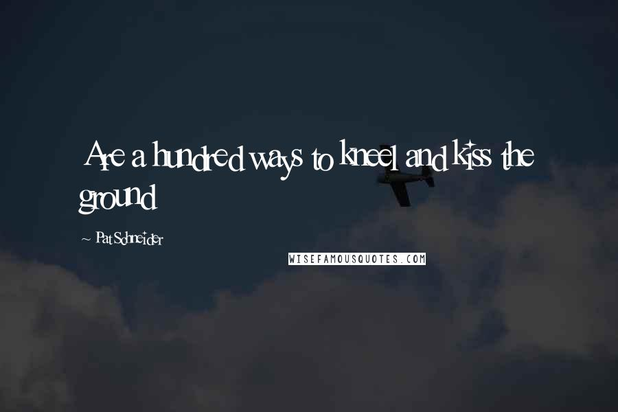 Pat Schneider quotes: Are a hundred ways to kneel and kiss the ground
