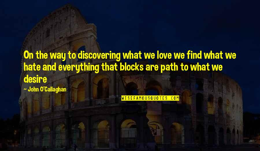 Path To Love Quotes By John O'Callaghan: On the way to discovering what we love