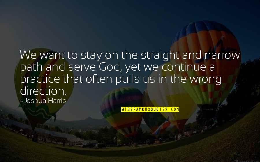 Path To Love Quotes By Joshua Harris: We want to stay on the straight and