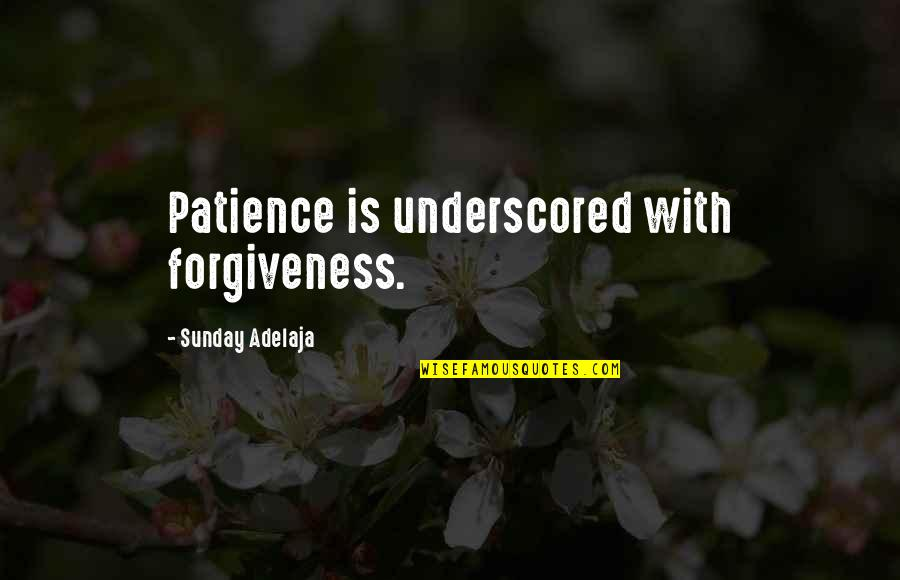 Patience And Forgiveness Quotes By Sunday Adelaja: Patience is underscored with forgiveness.
