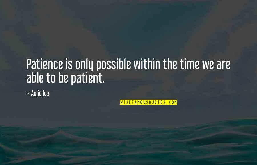 Patience And Time Quotes By Auliq Ice: Patience is only possible within the time we
