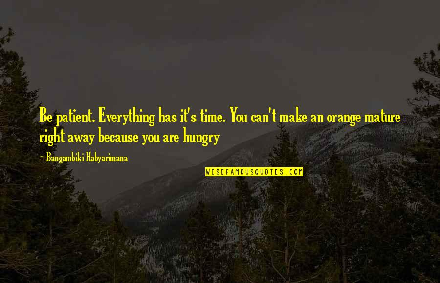 Patience And Time Quotes By Bangambiki Habyarimana: Be patient. Everything has it's time. You can't