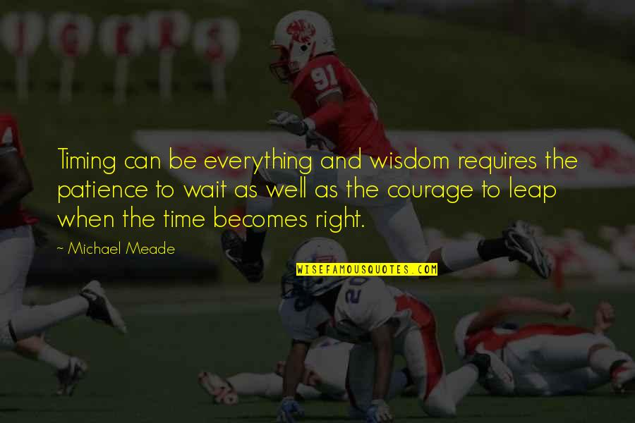 Patience And Time Quotes By Michael Meade: Timing can be everything and wisdom requires the