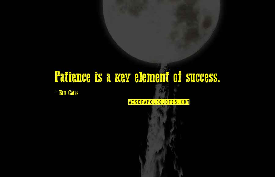 Patience Is Key To Success Quotes By Bill Gates: Patience is a key element of success.