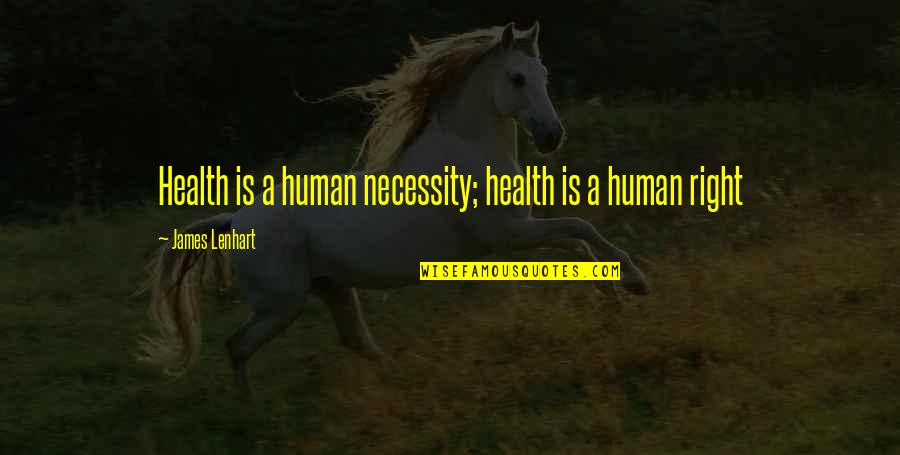 Patient Rights Quotes By James Lenhart: Health is a human necessity; health is a