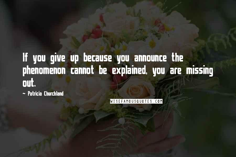Patricia Churchland quotes: If you give up because you announce the phenomenon cannot be explained, you are missing out.