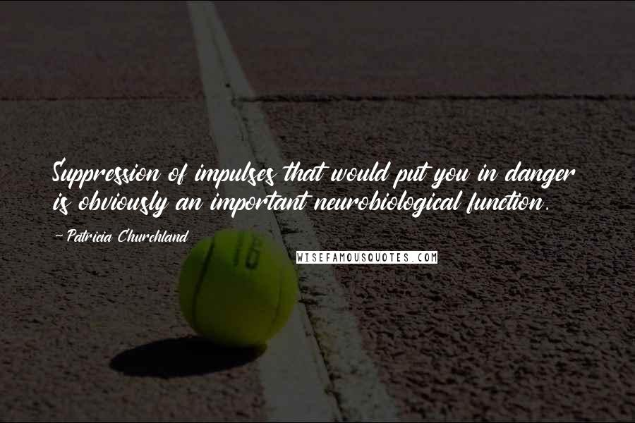 Patricia Churchland quotes: Suppression of impulses that would put you in danger is obviously an important neurobiological function.