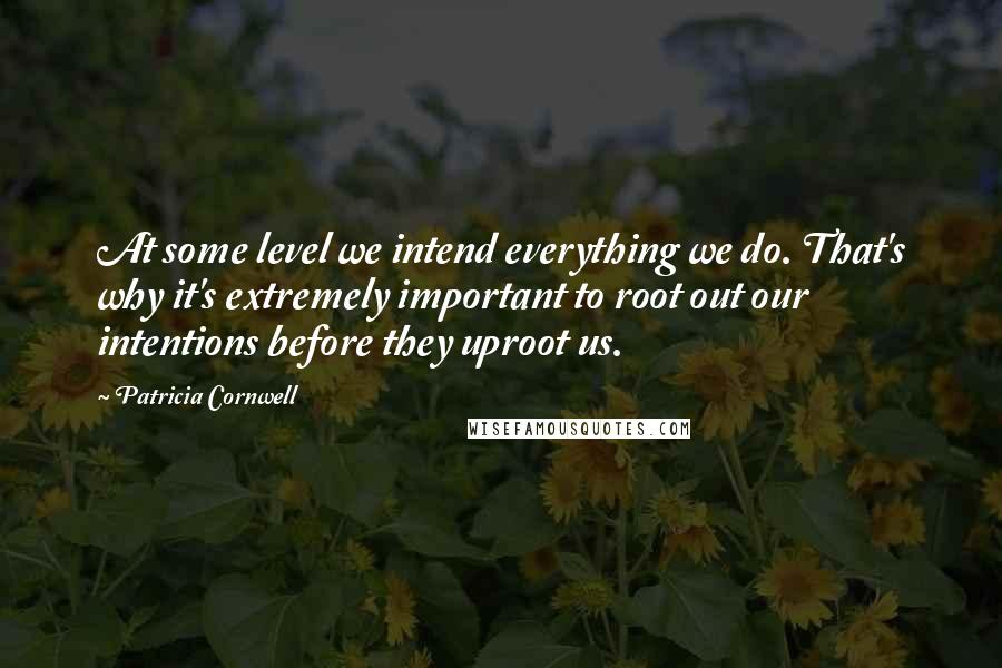 Patricia Cornwell quotes: At some level we intend everything we do. That's why it's extremely important to root out our intentions before they uproot us.