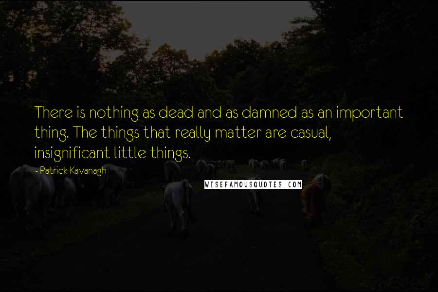 Patrick Kavanagh quotes: There is nothing as dead and as damned as an important thing. The things that really matter are casual, insignificant little things.