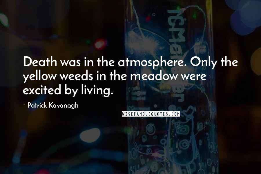 Patrick Kavanagh quotes: Death was in the atmosphere. Only the yellow weeds in the meadow were excited by living.