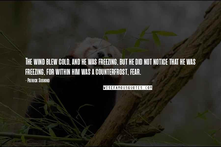 Patrick Suskind quotes: The wind blew cold, and he was freezing, but he did not notice that he was freezing, for within him was a counterfrost, fear.