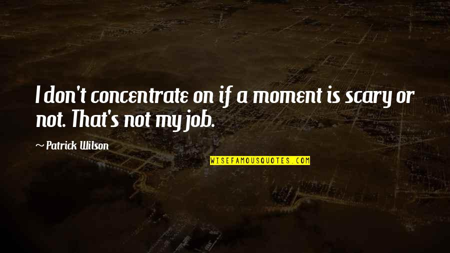 Patrie Quotes By Patrick Wilson: I don't concentrate on if a moment is