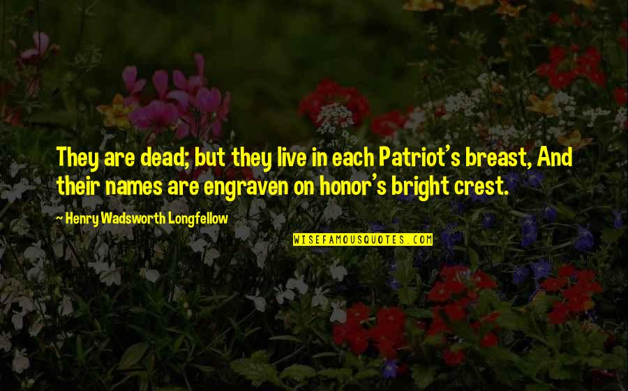 Patriot Day Quotes By Henry Wadsworth Longfellow: They are dead; but they live in each