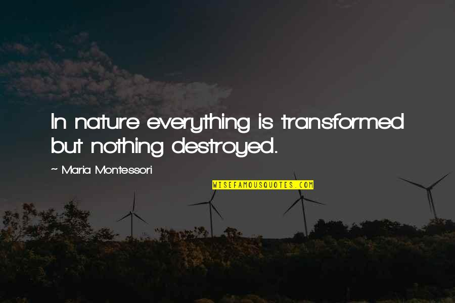 Patriotic Ukrainian Quotes By Maria Montessori: In nature everything is transformed but nothing destroyed.