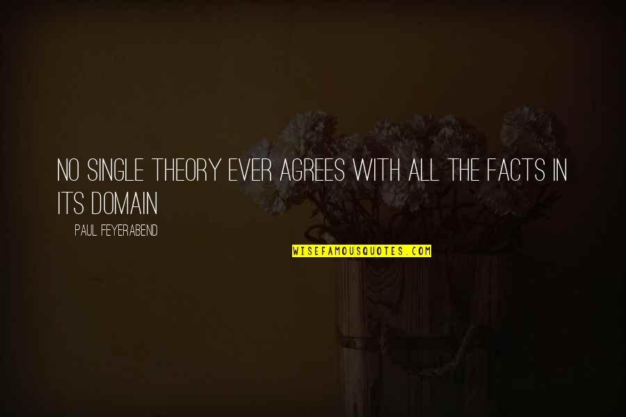 Paul K Feyerabend Quotes By Paul Feyerabend: No single theory ever agrees with all the