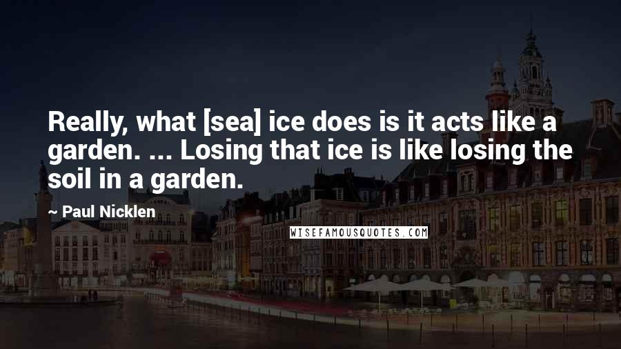 Paul Nicklen quotes: Really, what [sea] ice does is it acts like a garden. ... Losing that ice is like losing the soil in a garden.